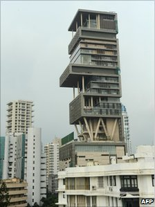 The 27-storey Antilia, the newly-built residence of Reliance Industries chairman Mukesh Ambani, is seen in Mumbai on October 19, 2010.