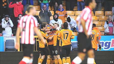 Wolves celebrate their opening goal