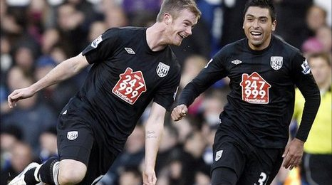 West Brom's Chris Brunt celebrates