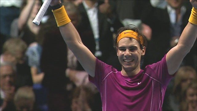 Rafa Nadal celebrates after beating Andy Murray