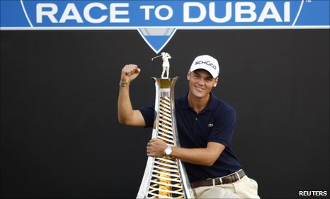 New European Tour number Martin Kaymer celebrates winning the title