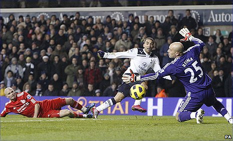 Aaron Lennon scores Tottenham's winner against Liverpool