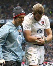Tom Croft is injured against South Africa