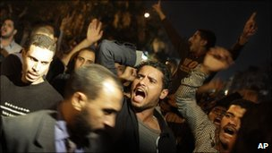 Hundreds of opposition Muslim Brotherhood supporters alleging electoral fraud chant during a protest in Cairo, Egypt, 28 November 2010