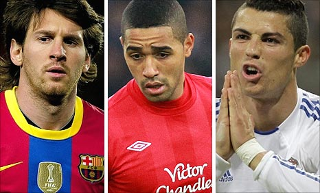 Barca's Lionel Messi, Forest's Lewis McGugan and Real's Cristiano Ronaldo
