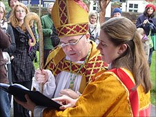 Bishop Stephen Cottrell at the entrance to Chelmsford Cathedral