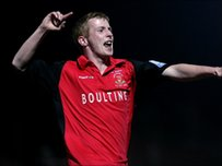 Ciaran Kilheeney of Droylsden celebrates after scoring the opening goal