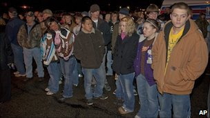 Students wait for news near Marinette High School (29 November 2010)