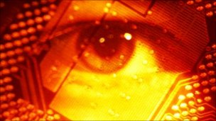 Eye with circuit board superimposed