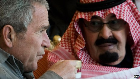 Former US President George Bush and  King Abdullah of Saudi Arabia
