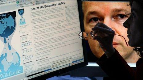 Wikileaks screen scot with Julian Assange