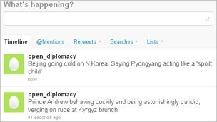 Spoof open diplomacy Twitter feed