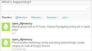 Spoof open diplomacy Twitter feed