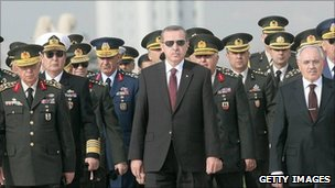 Turkish Prime Minister Tayyip Erdogan (centre) at a wreath-laying ceremony with members of the supreme military council