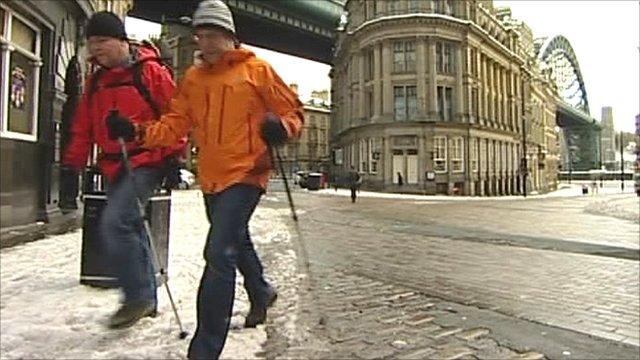 Employees walking to work