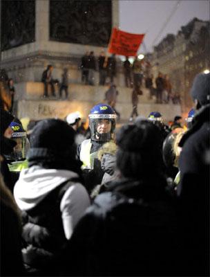 Police and protesters, Trafalgar Square