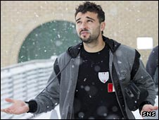 Kilmarnock midfielder Alexei Eremenko did not look too pleased about the snow fall