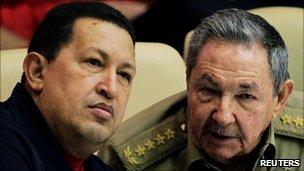 Venezuelan president Hugo Chavez and his Cuban counterpart Raul Castro at a meeting in Havana on 8 November 2010