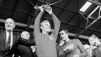 England captain Bobby Moore, Geoff Hurst and Bobby Charlton with World Cup trophy