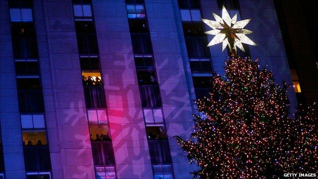 The Christmas tree outside the Rockefeller Center, New York