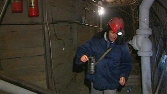 Adam Mynott inside Siberian mine