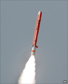 Pakistani ballistic missile Babur or Hatf VII being test fired at an undisclosed location in Pakistan on Thursday, March 22, 2007.
