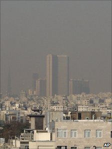 Rooftops are seen shrouded in polluted air in Tehran Wednesday, Dec 1, 2010