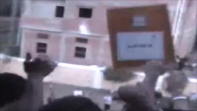 Ballot box being thrown from window