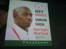 A programme from the ceremony unveiling Samson Siasia as coach of Nigeria