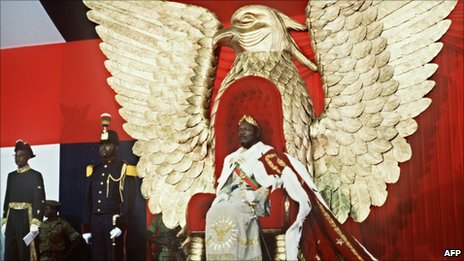 Jean-Bedel Bokassa crowns himself emperor in Bangui in December 1977