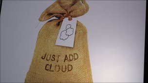 a bag with tag saying just add cloud