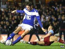 Nikola Zigic (left) scores for Birmingham