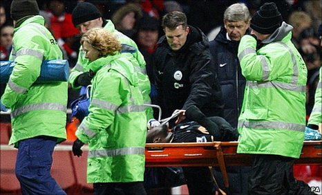 Victor Moses was stretchered from the field