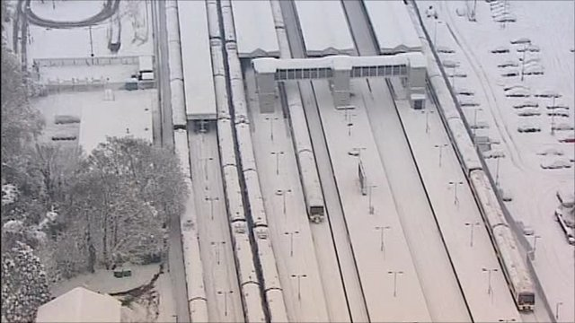 A snow-bound Orpington station in Kent