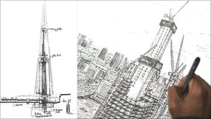 Early concept drawing of Shard, and a recent sketch by artist Stephen Wiltshire