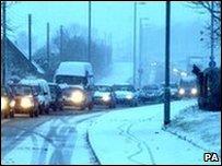 traffic, snow