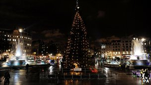 Norwegian Christmas tree in London's Trafalgar Square