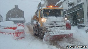 Snow plough in Alston, Cumbria