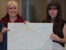 Fiona (left) and her mum Donna with their brainstorm notes