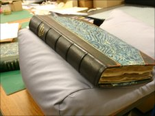 """The leather bound """"Jennings Papers etc"""" date from the mid 1700s"""