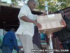 A container shipment of items donated as Gifts In Kind arrive at the Nkhoma Eye Hospital, Malawi