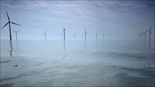 A wind farm off the UK coast near Liverpool