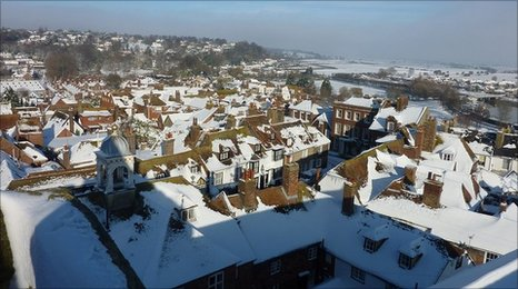 Snow-covered roofs in Rye.