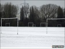Snowy football pitch