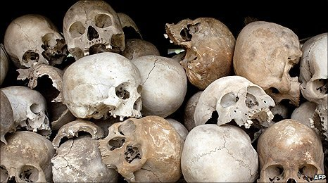 Human skulls in a glass case at Choeung Ek Genocidal Center in Cambodia