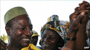 Alpha Conde (L), Guinea's president elect, photographed during campaigning in October 2010
