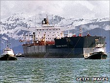 Exxon Valdez tanker being towed