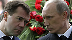 Russian President Dmitry Medvedev and Vladimir Putin