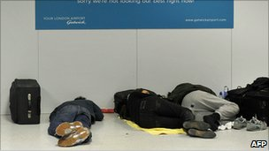 Sleeping passengers at Gatwick