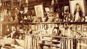  Ferdinand Thormeyer surrounded by his collection of Russian memorabilia